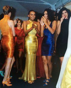 Azzedine Alaïa electric colored stretch bandage dresses 1986