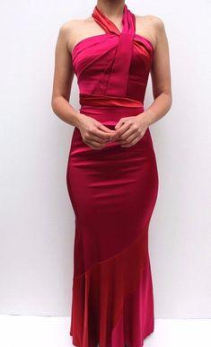 Karen Millen Pink Fluid Halter Satin Ruched Evening Wedding Maxi Dress 8 - 16 #KarenMillen #MaxiDress #Cocktail