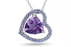 Ice.com 0.005 CT  Diamond TW And 4 1/4 CT TGW Amethyst Tanzanite Fashion Pendant With Chain Silver GH I2;I3 on shopstyle.com