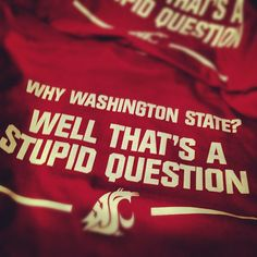 Why Washington State? Well that's a stupid question. T-shirts now in stock. $19.99 #WSU #Wazzu #GoCougs