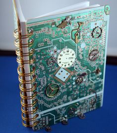 Steampunk circuitboard book by ljtigerlily computers crafts Green Recycling, Computer Diy, Industrial Wall Art, Steampunk, Tech Art, Electronic Parts, Artwork Design, Electronics Projects, Book Binding