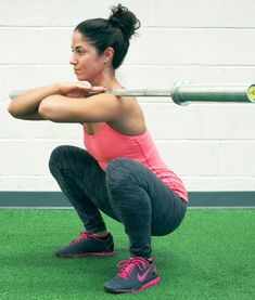 Take your squats up a notch by adding a barbell—when you're ready. This is hard!
