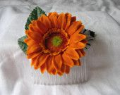 Orange Flower hairclip.