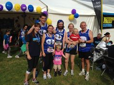 Runners & their junior supporters at the Great North Run Mind charity tent