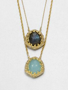 Alexis Bittar Chalcedony and Labradorite Double Pendant Necklace