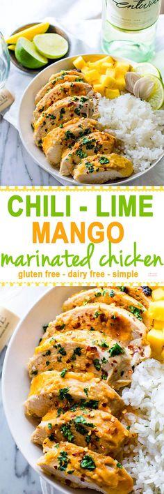 Barbeque Season is here! Time to find the perfect marinated chicken recipe you over and over again! Like this Gluten Free Chili-Lime Mango Marinated Chicken Bowl recipe. This Marinated Chicken recipe is super easy to make, healthy, dairy free, and delicious! A great way to learn how to cook with wine and use it in a light marinade.
