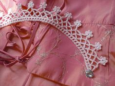 Hand crocheted necklace choker / pink pastel / by MaybeTheWhiteDog,
