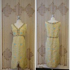 0fb0be17f9b 1960s Vintage Brocade Scalloped Gold Plus by RedLightVintageShop Vintage  Wear