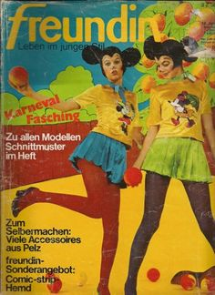 """Freundin is a German magazine, sort of maybe like Teen Vogue? Not sure. Anyway, I found this old 1970s edition of the mag recently and bought it just for the freaky cover. Little did I know what would be revealed inside: an entire photo shoot of models wearing bizarre flower-power psychedelic versions of costumes based on comic book characters like Donald Duck, Daisy Duck, Asterix, Superboy, Dick Tracy, and more!"" - BK Munn - more pics after the link!"