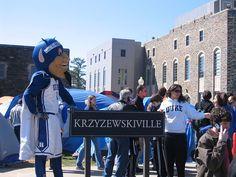 Mascot by K-ville sign at Duke University--Photograph by: Bluedog423