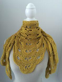 Chal crochet mostaza