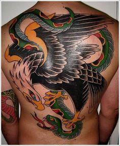 Eagle And Snake Back #Tattoo Idea