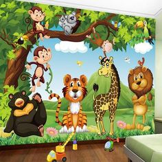 Custom Mural Wallpaper Cartoon Animal World Children Kids Bedroom Backdrop Wall Painting Eco-Friendly Non-Woven Wallpaper 3 D 3d Wallpaper Mural, Animal Wallpaper, Custom Wallpaper, Cartoon Wallpaper, Wallpaper Jungle, Cheap Wallpaper, Jungle Drawing, Wallpaper Suppliers, Cute Cartoon Animals