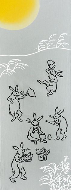 Japanese washcloth, Tenugui お月の宴 Feast of the Moonlight Japanese Textiles, Japanese Fabric, Japanese Design, Japanese Art, Snow Poems, Doodle Paint, Year Of The Rabbit, Rabbit Art, Bunny Art