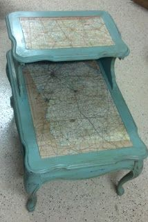 This is a brief tutorial for creating the mapped end table! I started with one of those two tiered or step-down end tables. This one had a lovely leather top (uh-hmmmm). As you can see in the first picture, it really needed cleaning. So I cleaned it twice…yes, it was that dirty. I knew I …