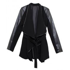 $54.31Black Big Lapel Leather & Chiffon Joint Long Coat with Belt