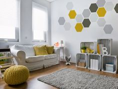 Geometric Removable Wall Art, Wallpaper Fabric-like Stickers, Yellow, Khaki and Grey Removable Geometric Shapes, Small & Large Sizes.