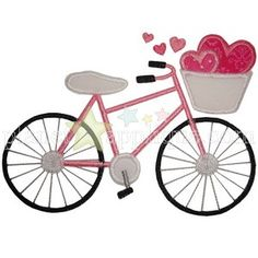 Valentine bicycle Applique