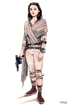 "Concept art of Rey from ""Star Wars : The Force Awakens"" (2015)."