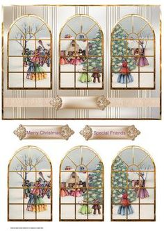 Carol singers around the Christmas tree window view on Craftsuprint designed by Angela Wake - Carol singers around the Christmas tree window view, with toppers and sentiment tags - Now available for download!