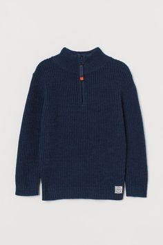 Ribbed cotton jumper - Dark blue - | H&M GB 2 Cotton Jumper, Hello Autumn, Fashion Company, World Of Fashion, Style Guides, Rib Knit, Dark Blue, Personal Style, Pullover