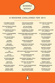 "thelucideffect: "" Based on the ALA's Banned & Challenged Classics list, which can be found here: http://www.ala.org/bbooks/frequentlychallengedbooks/classics 1. The Great Gatsby, by F. Scott Fitzgerald 2. The Catcher in the Rye, by J.D. Salinger 3...."