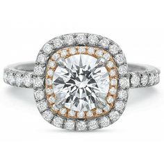 PRECISION SET EXTRAORDINARY DOUBLE HALO CUSHION ENGAGEMENT RING  18 Karat White And Rose Gold Extraordinary Double Halo Cushion with Diamond Shank. The Diamond Weight Of This Ring Is 0.82CT.
