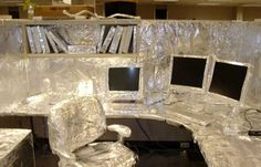 Funny Office Pranks...thinking I know a rack or two that might need this.