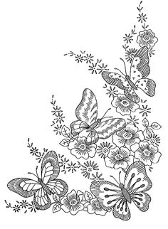 Free coloring page coloring-adult-difficult-butterflies. Four butterflies and flowers