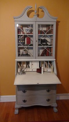 Painted Antique Secretary Desk In French Linen And By Thistlebleu 485 00