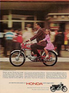 "HONDA 90 Motorcycle 1965 Ad ""Daddy's Girl"" Vintage Print"