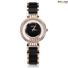53a0eeea8d9 KIMIO K485 Elegant Crystal Ceramic Band Women Bracelet Watch  banggood