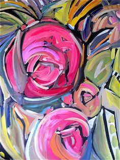 Large Abstract Painting pink lime by Marendevineart on Etsy