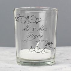 Engagement Anniversary Keepsake Personalised Tea Light Holder 2 Names /& Date