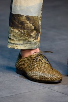 Woven shoes, landscape trousers - Dolce & Gabbana Spring/Summer 2014 Menswear, Milan Fashion Week
