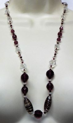 Vintage long purple & clear art glass Bead NECKLACE costume jewelry beaded #unsigned #singlestrand