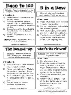 Math games 25895766581081416 - 5 Games to Play With a Hundreds Chart – directions for a couple mention multiplication, however, you could easily adjust to addition. Math Strategies, Math Resources, Math Activities, Math Stations, Math Centers, Second Grade Math, Grade 2 Math Games, Student Games, Grade 1