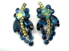Juliana Earrings Cobalt Blue AB Green Vintage Collectible Jewelry High Fashion Verified D&E Autumn Winter $40.99
