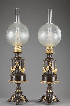 .Paire de lampes à pétrole Napoléon III - 1498