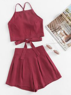 Bow Tie Open Back Cami Top And Shorts Set -SheIn(Sheinside)