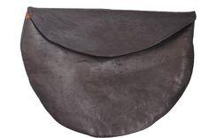 Nutsa Modebadze. dark grey brown charcoal leather clutch purse. organic, natural, handmade.