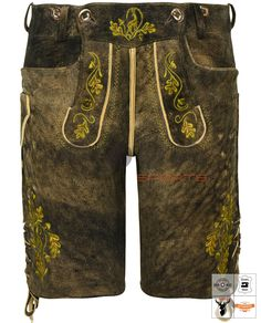 Nockherberg Lederhose Kurz Braun Art. #MnS-60-0092910 Length: Short Material: Deer skin Buttons: Deer horn DESCRIPTION Nockherberg Lederhose Kurz for men by Moon Sports in maple Antique brown. The high-quality lederhosen kurz (Short Leather Pants) are characterized by sturdy deerskin and noble details. Motif embroidery blends perfectly with the contrast piping. A button-down bib and lacing on the back and leg cuffs offer great comfort. Three signature pockets and natural tanning… Leg Cuffs, Lederhosen, Natural Tan, Deer Skin, Sport, Bermuda Shorts, Contrast, Leather Pants, Legs