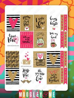 Valentine Planner Sticker Kit for your Erin Condren Life Planner, Happy Planner, or any planner! by MoogleyandMe on Etsy