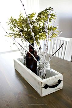 Rustic Wood Drawer Box Centerpiece - 36 DIY Wooden Box Centerpiece Ideas (Full Tutorials) - DIY & Crafts