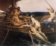 """Ulysses and the Sirens"" by Herbert James Draper. I love how they're becoming human as they leave the water."
