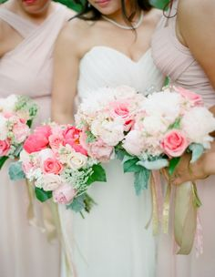 Beautiful pink and blush bouquets!