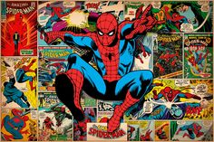 """""""Marvel Comic Book Spider-Man on Spider-Man Covers and Panels"""" - canvas print by Marvel Comics"""