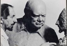 "About the photo: c1951, photograph of sculptor, Oscar Nemon, posing with Churchill's sculpted bust of Nemon, standing in front of Nemon' bust of Churchill. Although Nemon successfully fled Nazi persecution before the war, much of his family was not so fortunate. Nemon greatly admired Churchill, calling him ""one of the most remarkable personalities of all time."" Churchill Archives Centre, The Nemon Papers, NEMO 4/3b"
