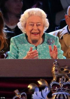 The Queen looked delighted during the performance by the horses and ponies and was snapped smiling and clapping along