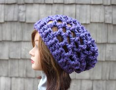 Purple Passion  Chunky Open Stitch Big Rasta Slouchy by Threadmill, $35.00